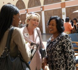 Vickie Turner speaking with her former law school colleagues.