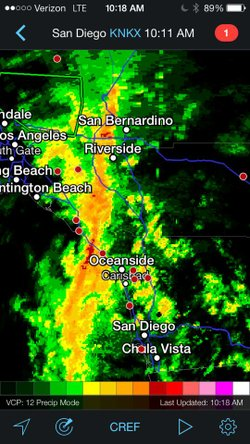 A band of heavy rain stretches across San Diego from San Bernardino to Chula Vista, Feb. 28, 2014.