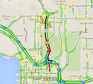 This screen grab from a CalTrans map shows a traffic accident and a fallen tr...