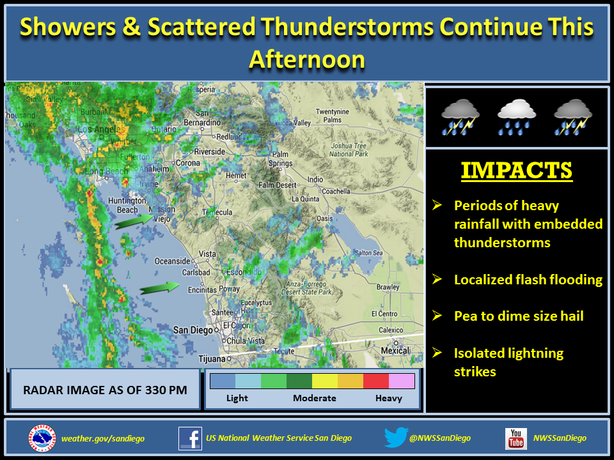 A radar image shows moderate rain showers and thunderstorms headed to Southern California, March 1, 2014.