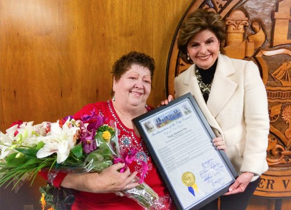 Peggy Shannon and Gloria Allred pose with Shannon's proclamation. Credit: Gloria Allred