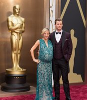 Elsa Pataky and Chris Hemsworth arrive for the live ABC Telecast of The 86th Oscars at the Dolby Theatre. There were a couple of VERY pregnant women at the awards.