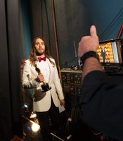 "Oscar winner for Best Supporting Actor Jared Leto moments after winning for ""Dallas Buyers Club."""