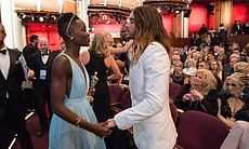 Best supporting winners Lupita Nyong'o and Jared Leto enjoying their moment in the glow of Oscar gold.