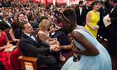 Nominee Leonardo DiCaprio with winner Lupita Nyong'o.
