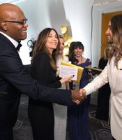 Mace Windu and Jesus... okay just Samuel L. Jackson and Jared Leto backstage at teh Oscars.