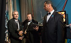 Yeah, that's what it looks like to win an Oscar, Alfonso Cuaron, one of the night's big winners.