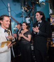"Sometimes the most genuine moments of joy happen backstage, Matthew McConaughey looking very happy moments after winning his Best Actor Oscar for ""Dallas Buyers Club."""
