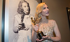 Backstage fun with Cate Blanchett mimicking the photo of Best Supporting Actress winner Celeste Holm.