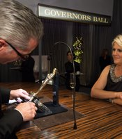 The Oscar engraving station at the Governor's Ball.