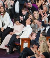 Capturing the moment... Matthew McConaughey hears his name called.