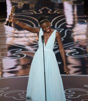 "Some genuine joy from a desrving winner, Lupita Nyong'o, Best Supporting Actress for ""12 Years a Slave."""