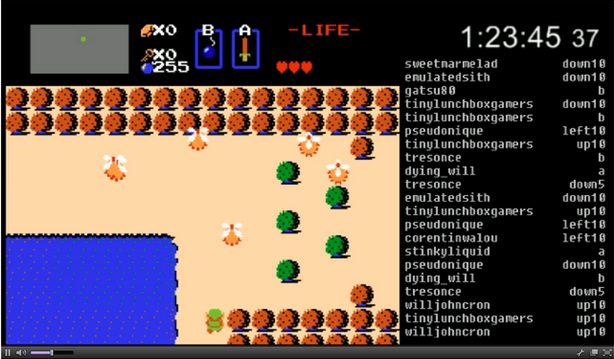 Link obeys commands entered by hundreds of players on Twitch Plays Zelda.