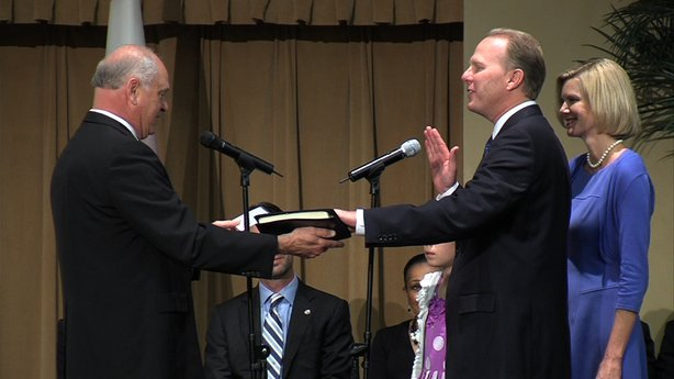 Kevin Faulconer was sworn in as San Diego's mayor on Monday, March 3, 2014, at the Jacobs Center For Neighborhood Innovation.