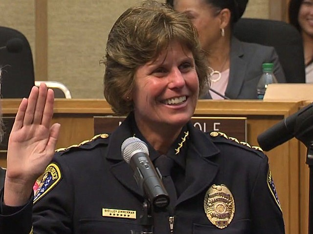 Shelley Zimmerman is sworn in as the chief of San Diego police department.