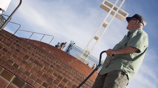 Navy Veteran Jim Wall climbs the stairs at Mt. Soledad on February 15th, 2014.