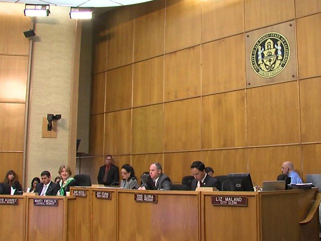 The San Diego City Council is shown in this file photo. On Tuesday, the counc...