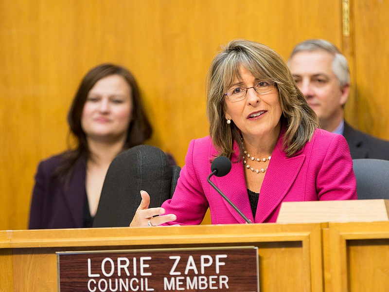 San Diego City Councilwoman Lorie Zapf at a council meeting, Feb. 25, 2014.