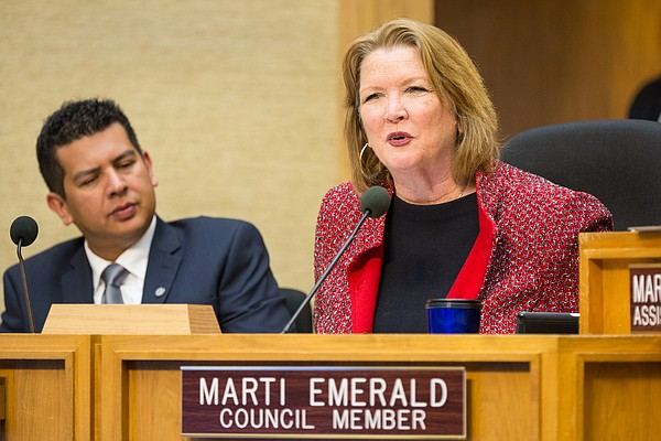 San Diego City Councilmember Marti Emerald at council mee...