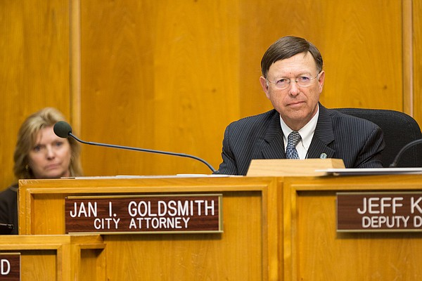 San Diego City Attorney Jan Goldsmith at council meeting ...
