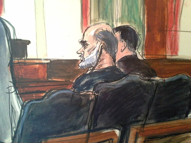 In this courtroom drawing, Osama bin Laden's son-in-law, Sulaiman Abu Ghaith, center, listens to a translator, in U.S. federal court on Wednesday in New York.
