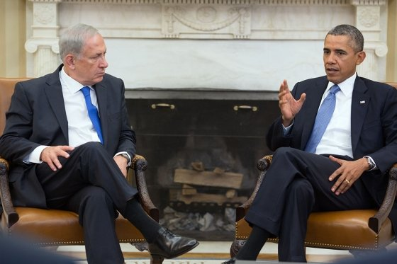 President Barack Obama and Prime Minister Benjamin Netanyahu of Israel hold a...