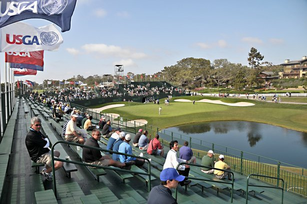People sit in the stands at the 18th hole of the U.S. Open Championship at Torrey Pines South Golf Course on June 11, 2008.