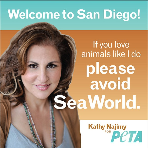 Actress Kathy Najimy is shown in a PETA ad urging San Diego visitors to not v...