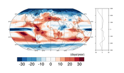 World map of average mean change in frequency of dry days (days/year) by 2060...