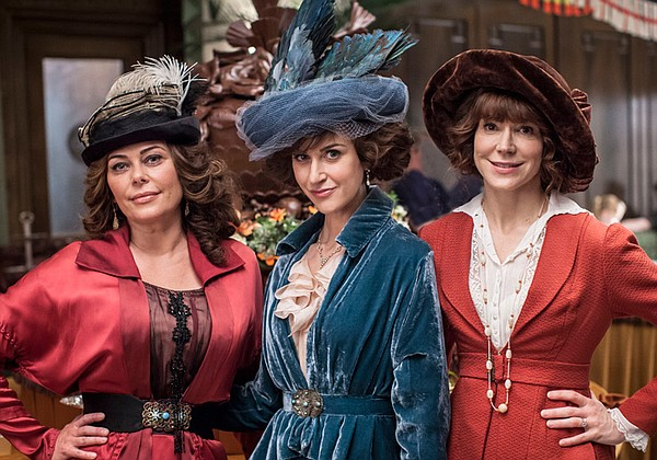 Polly Walker as Delphine Day, Katherine Kelly as Lady Mae, and Frances O'Conn...