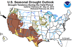 San Diego's drought and above average temperatures are expected to continue through spring, according to NOAA Climate Prediction Center's three month outlook.