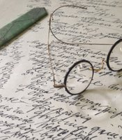 Sigmund Freud's spectacles on his desk at the Freud Museum, London.