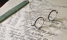 Sigmund Freud's spectacles on his desk at the F...