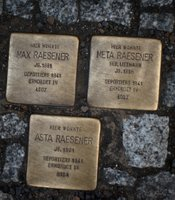 Gold inscribed cobblestones, Berlin, Germany.