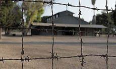 Atlit detention camp, Israel - seen through barbed wire.