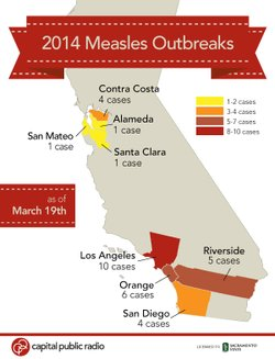 Graphic shows where measles outbreaks occurred in California in 2014.