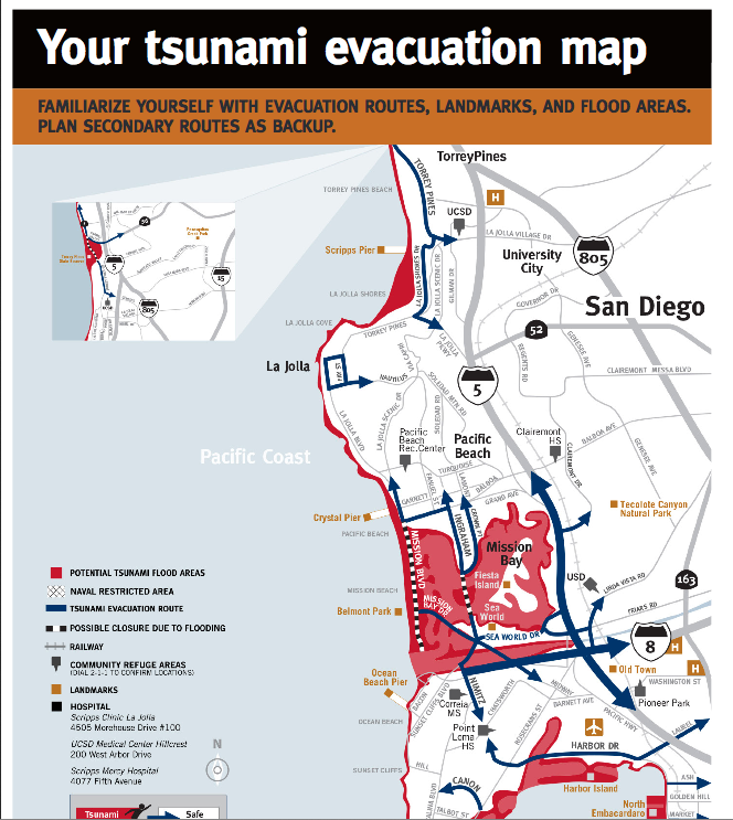 New Maps Show Tsunami Risk Zones San Diego County on Emergency Evacuation Maps
