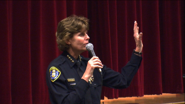 Police Chief Shelley Zimmerman told an audience at Cherokee Point Elementary School in City Heights she's committed to regaining the trust of the community at a March 26, 2014 town hall meeting.