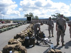 Marines line up their gear before deploying from Camp Pendleton to Australia, April 1, 2014.