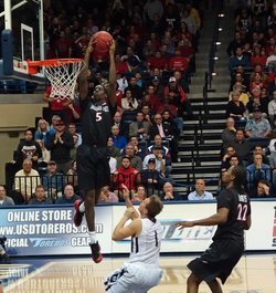 SDSU Aztecs basketball player Dwayne Polee in a game against the University of San Diego Toreros on December 5, 2013.