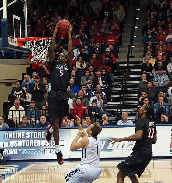SDSU Aztecs basketball player Dwayne Polee in a game agai...