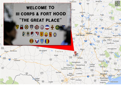 Map of Fort Hood in Texas