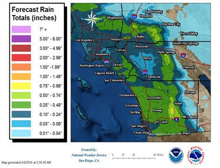 Rainfall totals expected for San Diego County showers, April 2, 2014.