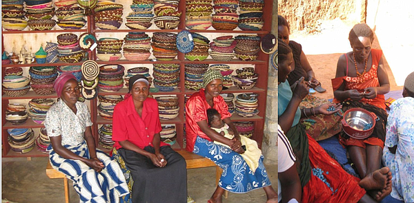 Hutus and Tutsis women joining together to basket weave. Their baskets are so...