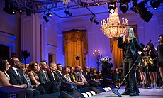 "Melissa Etheridge performs. President Barack Obama and First Lady Michelle Obama host ""Women Of Soul: In Performance At The White House"" in the East Room of the White House, March 6, 2014."