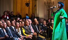 "Patti LaBelle performs. President Barack Obama and First Lady Michelle Obama host ""Women Of Soul: In Performance At The White House"" in the East Room of the White House, March 6, 2014."