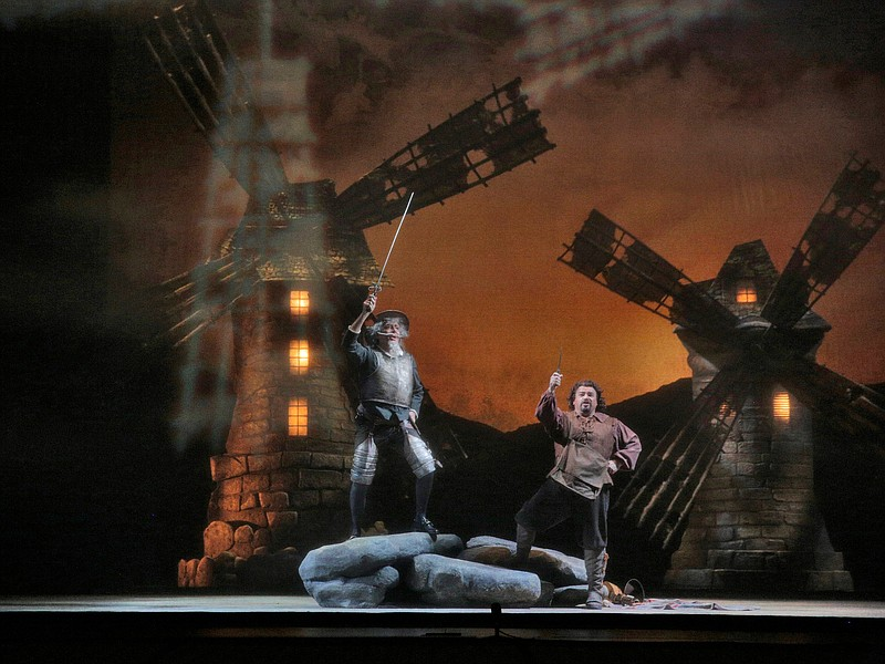Tilting at windmills with Bass Ferruccio Furlanetto as Don Quixote and bass b...