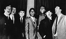 The Dave Clark Five with Sam Cooke (left) and Muhammad Ali (right).