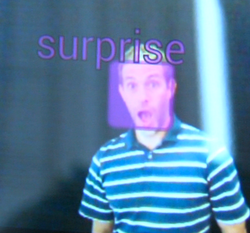 A purple box signifying a surprised expression is superimposed on the image o...