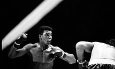 Cassius Clay lowers the boom, as he heads to a championship bout with Sonny Liston.